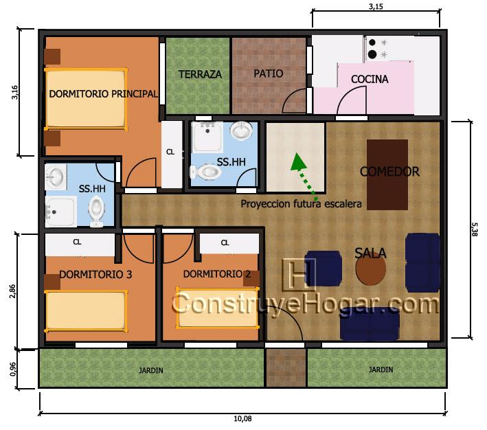 Plano de casa de 10m x 10m con proyecci n a segundo nivel for Diseno de casa de 10 x 20