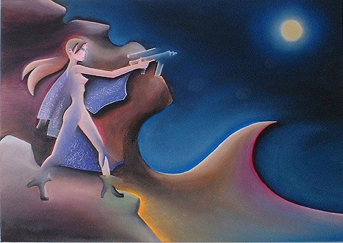 donna ragazza fucile dipinti orme magiche quadro disegno pittura spirituale arte zen