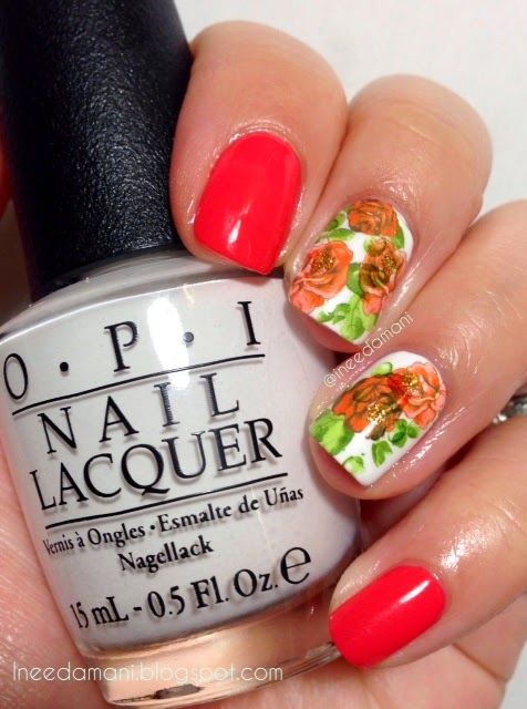 opi alpine snow rose water decal nails