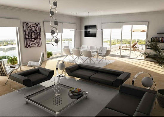 Contemporary living room design with black sofa