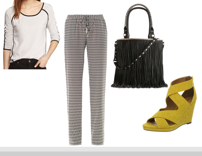 Express Piped Baseball Tee,  Yellow Strappy Wedges, Houndstooth Pants, Drawstring Pants, Fringe Tote Bag
