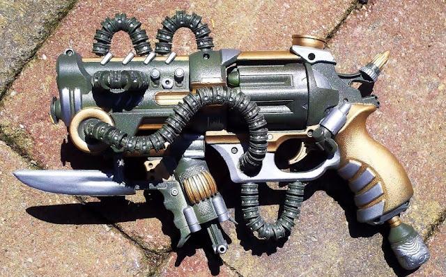 Mod, steampunk, gun, blaster, rotator x-8, paint, custom, future, revolver, nerf