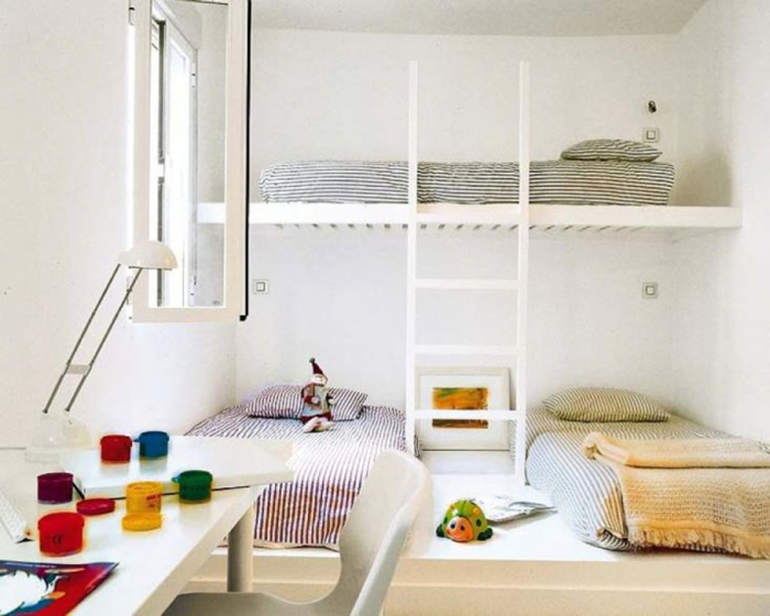 children's room with floor beds