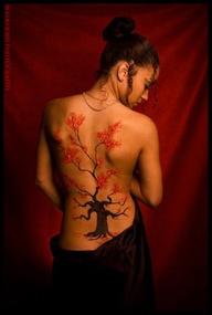 Red flower tattoos on back