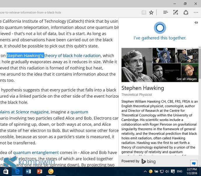 Mencari Gambar Serupa (Beserta Infonya) yang Muncul di Web dengan Cortana di Microsoft Edge 7