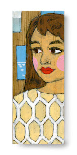 illustration on wood: TOUR GUIDE with interesting sweater