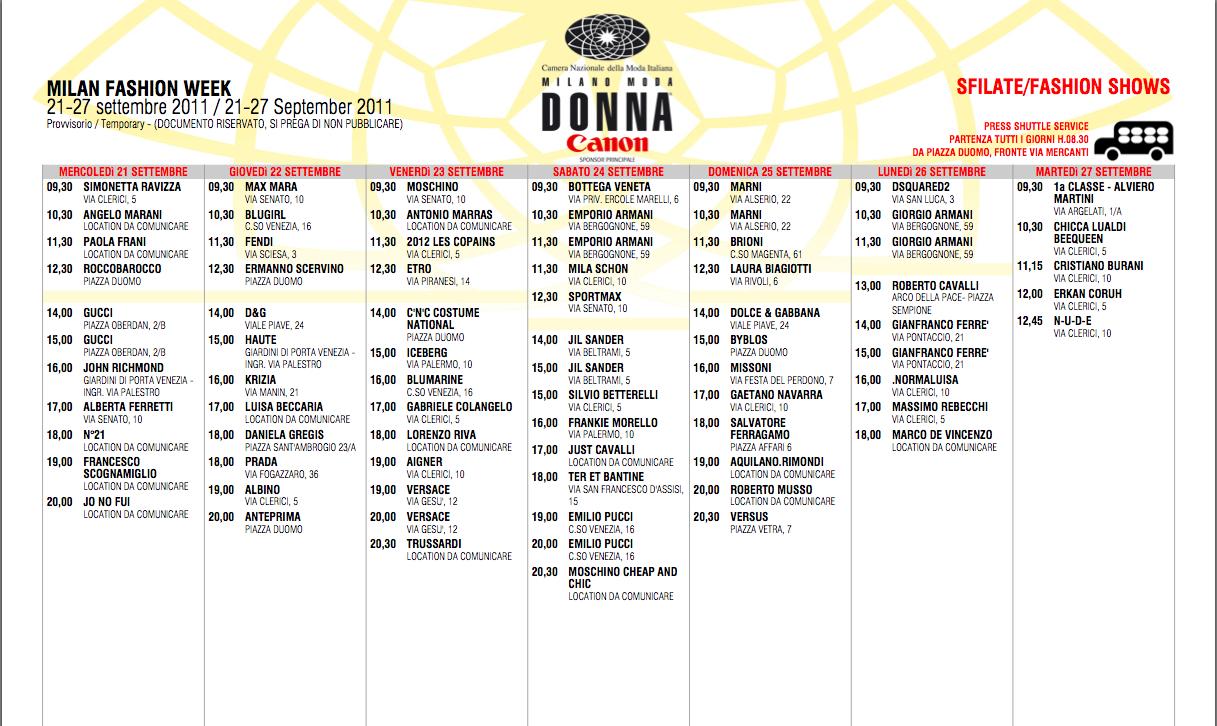 Milan Fashion Week Schedule June