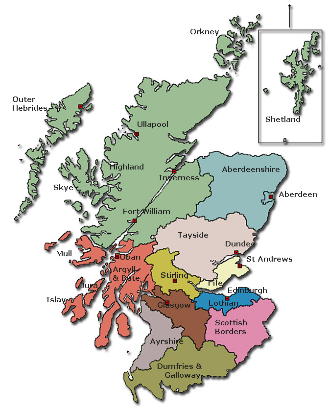 Regional map of Scotland | Data Clinic Glasgow