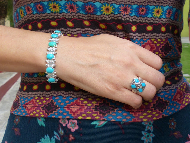 Turquoise silver bracelet and ring