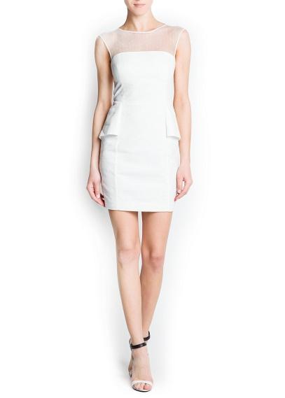 Şifon kumaştan, üst kısmı petek dikişli, yuvarlak yakalı ve iç astarı şeritli, kısa ve kolsuz elbise.