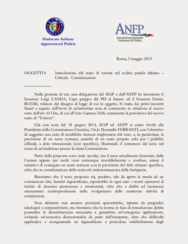 S i a p segreteria provinciale torino reato di tortura for Il senato italiano