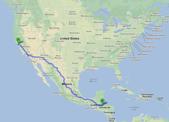 map showing the journey ahead, which we'll be making three times over the course of Padre Reece's one-year Fullbright mission