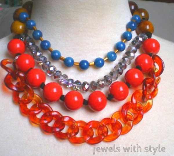 M Renee Design, jewels with style, handmade statement jewelry, colorful statement necklace, orange necklace