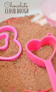 Valentines cloud dough and sensory bin- nothing says Valentine's Day quite like chocolate, making this cloud dough perfect for the holiday
