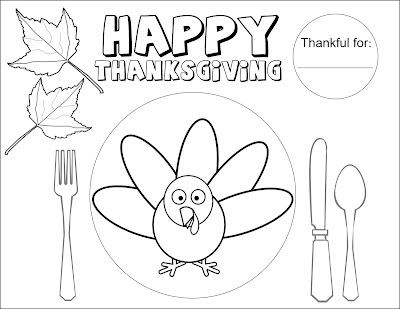 Thanksgiving Printable Placemat Coloring Pages - Colorings.net