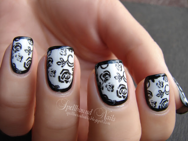 nails nailart nail art mani manicure Spellbound border borders roses stamping black white L.A. Colors tutorial elegant stamp stamped stamper