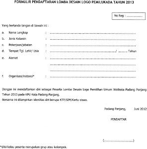 formulir pendaftaran lonba desain logo pemilukada padang panjang tahun 2013