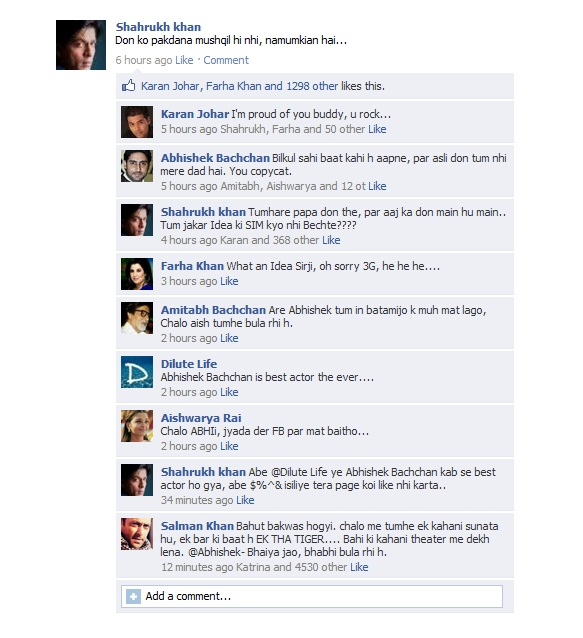 Dilutelife: Shahrukh Khan's fake Facebook Wall
