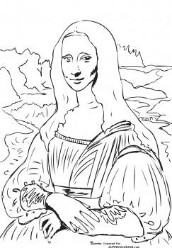 Dulce arteonline 39 mona lisa 39 de leonardo da vinci para for Mona lisa coloring pages