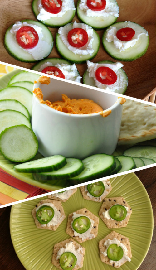 WIAW Sensible Snacking with Zucchini Rounds Cucumber Hummus Goat Cheese and Jalapaneos