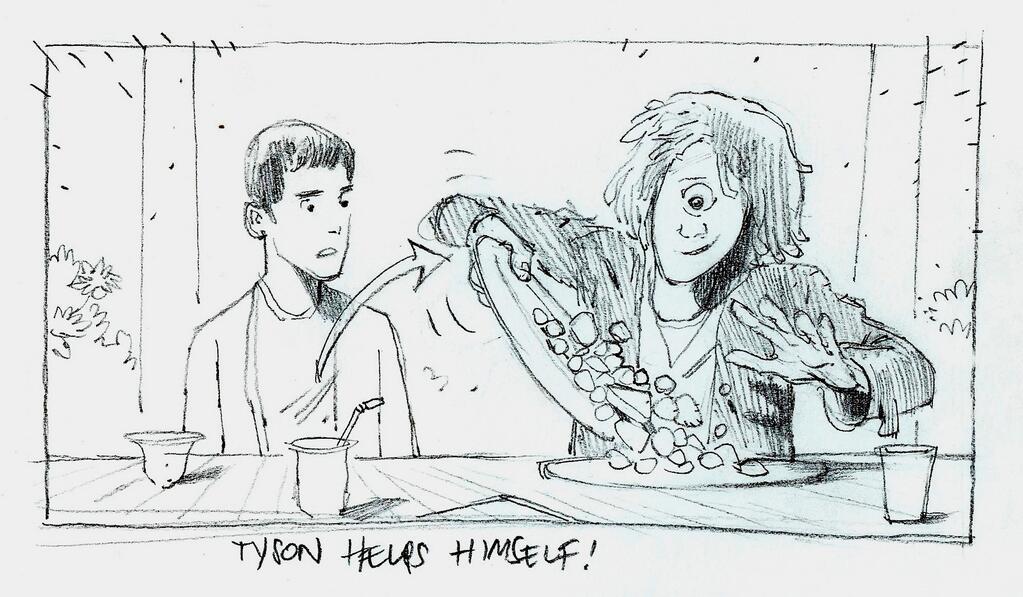 Imagen del guión gráfico de Percy Jackson y el Mar de los Monstruos. Vemos a Tyson echándose la comida del plato de Percy en su propio plato mientras él lo mira.
