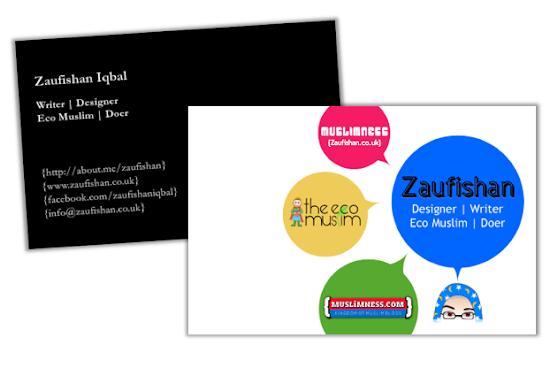 graphic design business cards muslim designer zaufishan