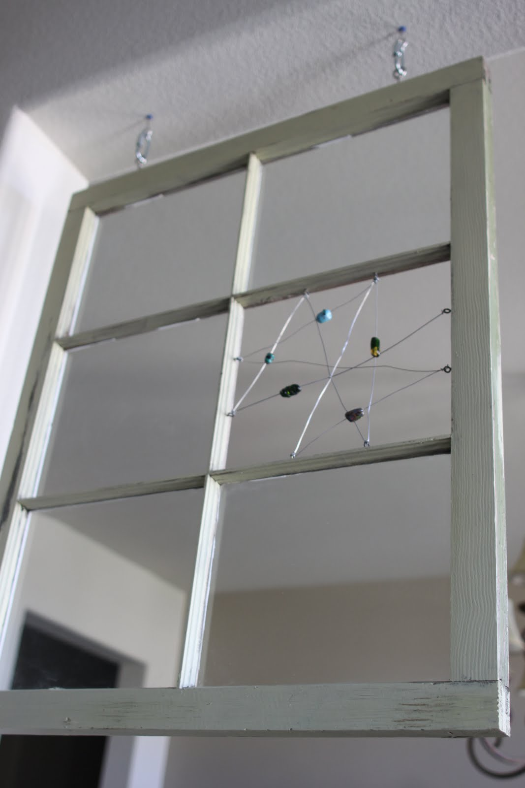Olive and Love: Old Window Pane with Hand Made Glass Beads