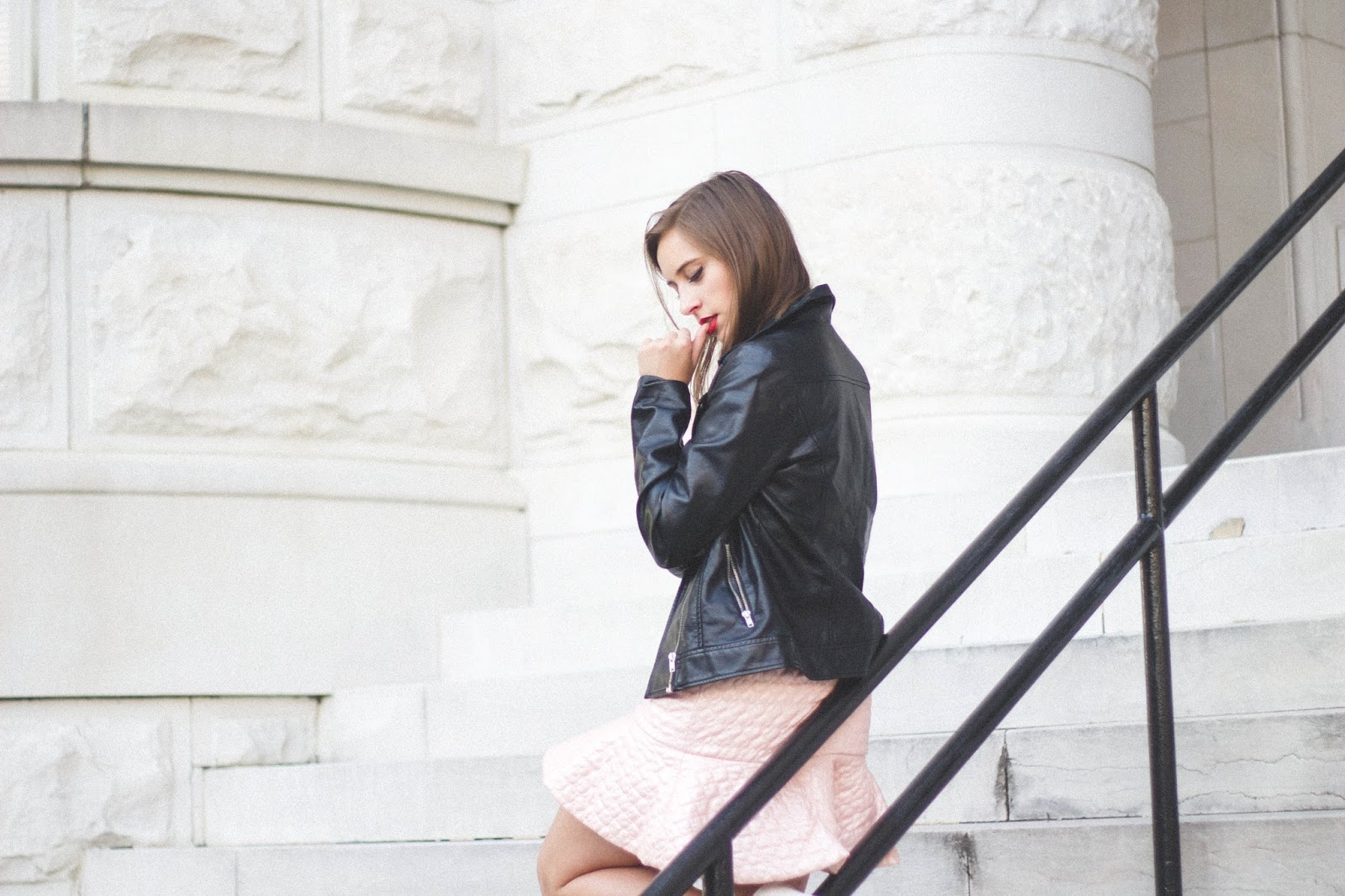 retro, outfit, lashes of london, asos, pink, classy, style, pink leather co-ord, white pumps, forever 21 biker jacket, good girl bad girl outfit, ariana grande style, vintage outfit inspiration,