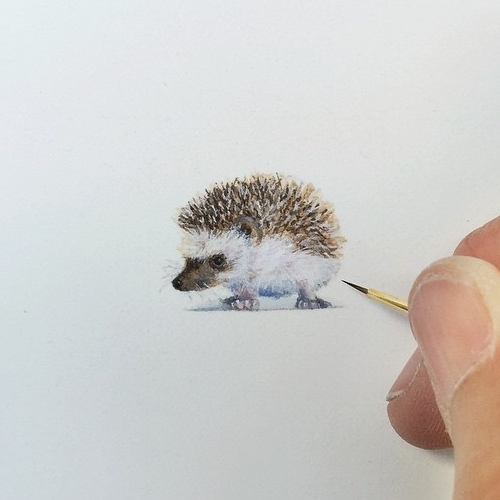 08-Baby-Hedgehog-Karen-Libecap-Star-Wars-&-other-Miniature-Paintings-and-drawings-www-designstack-co