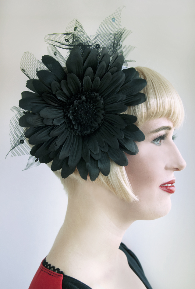 fascinator, headband, black flower