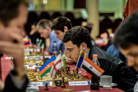 Le grand-maître international d'échecs français Laurent Fressinet a finit le tournoi sur une excellente note: il a gagné contre Arkadij Naiditsch ce qui lui a permis de finir sur le podium en compagnie de Sargissian et Harikrishna avec 7 points sur 9 - Photo © Alina L'Ami