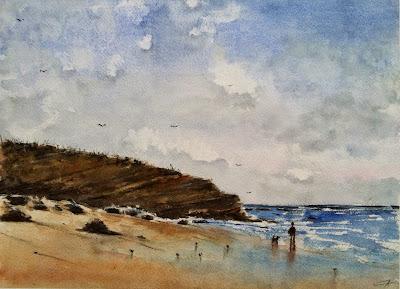 mer marine paysage ciel aquarelle