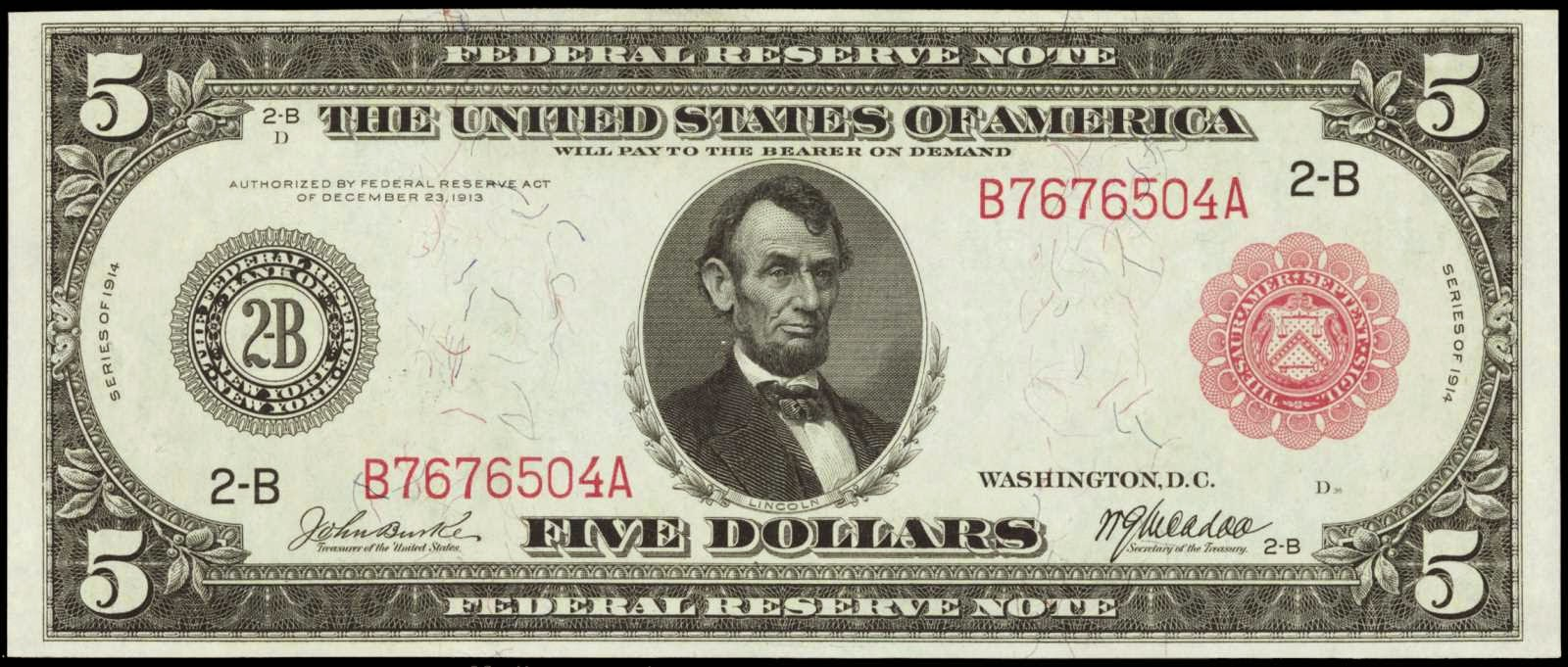 1914 5 Dollar bill Federal Reserve Note
