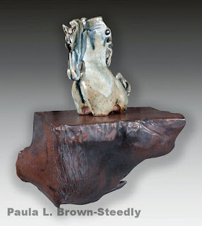 Ceramic shelf and horse by Paula Brown-Steedly