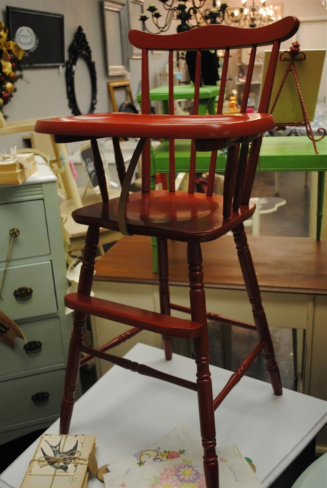 Painted wood high chair - Monday January 23 2012