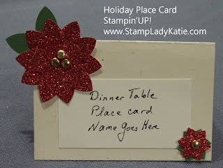 Place Card with Red Glimmer Paper Poinsettias