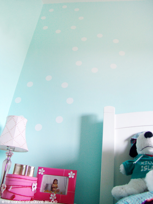 white dots, vinyl wall decor, wallternatives, pink & aqua room decor