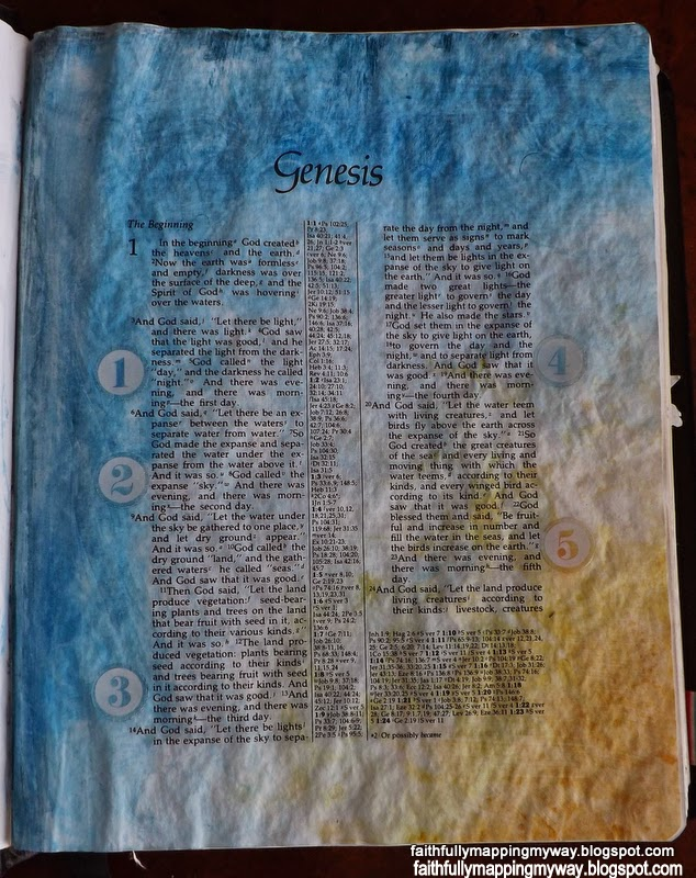 Journaling Bible art in Genesis with watercolor gel crayons