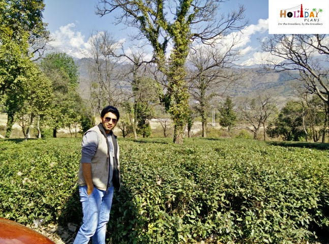 Abhishek is excited to get clicked before tea gardens