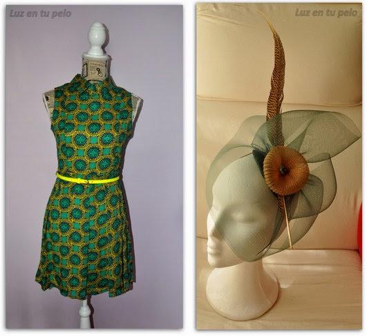tocado verde, tocado marrón, tocado dorado, tocado barato para boda, tocados online, tocados económicos, tocados con pluma