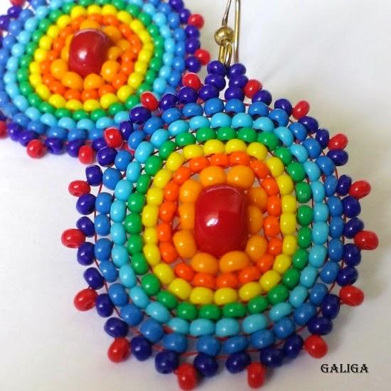 rainbow style beaded jewelry-colorful seed bead earrings-Multicolored Seed Bead Earrings-round earrings
