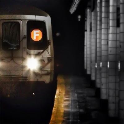 Subway F train in New York heading to Brooklyn