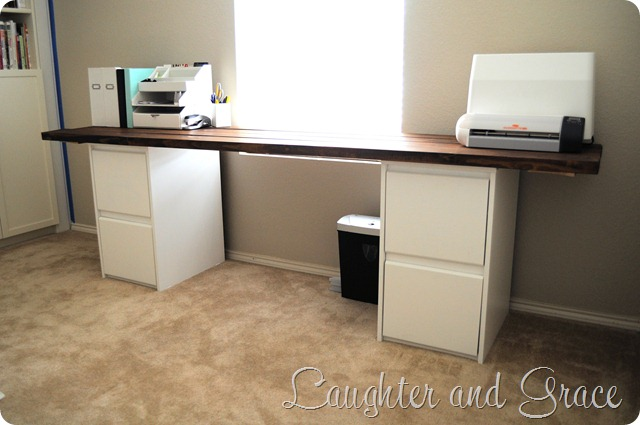 retired now diy long desk built with 2 x 4s and filing cabinets