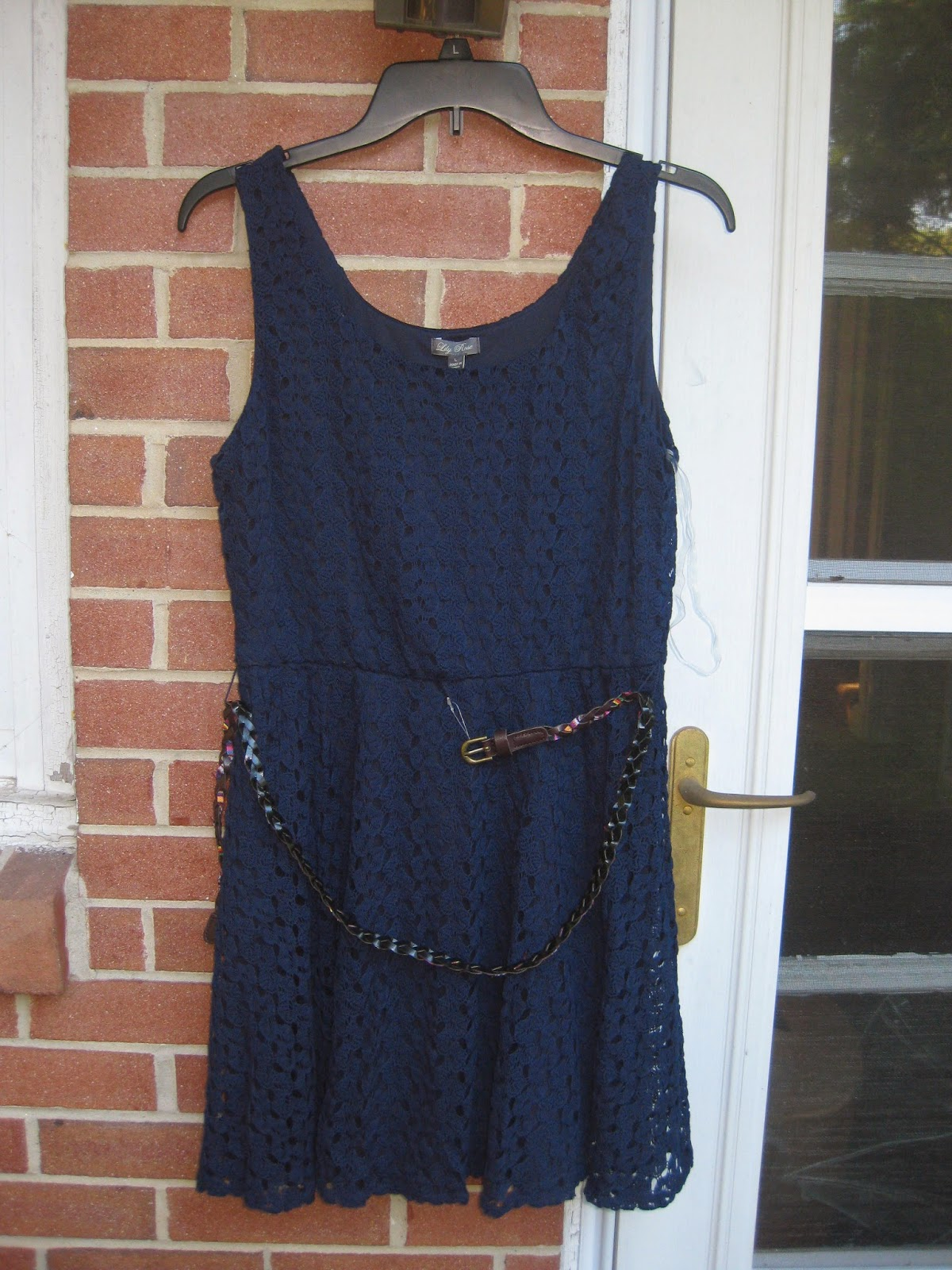 Navy Blue No Sleeve Lily Rose Lace Skater Dress in Size Large