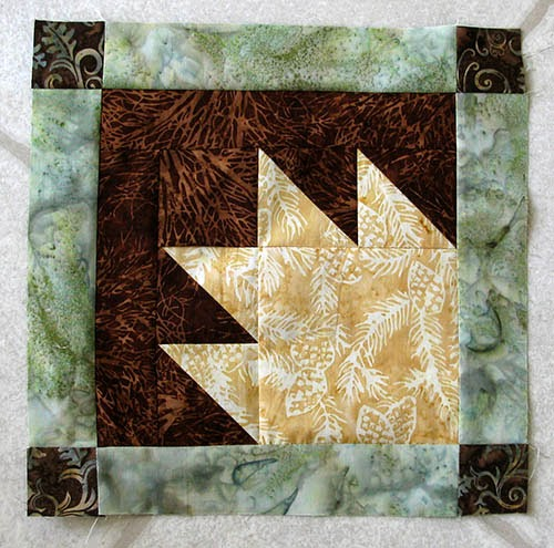 Aurifil designer block for April at Freemotion by the River