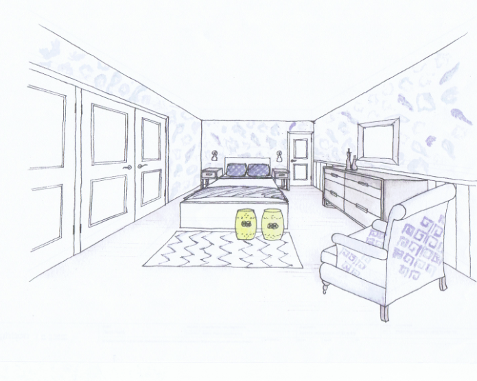 Wrightson stewart bedroom sketch for Bedroom designs sketch