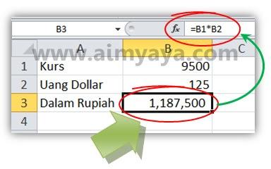 Gambar: Cara konversi nilai uang dollar ke rupiah  di microsoft excel 2010