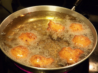 clam cakes frying