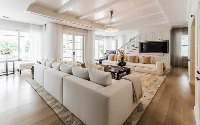 Celine Dion's living room wiht dueling sofas and french doors