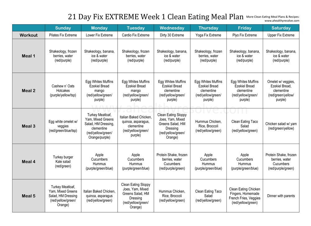 21 Day Fix EXTREME Clean Eating Meal Plan and Recipes